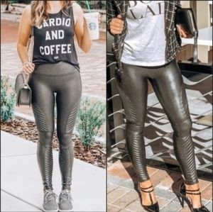 Spanx Faux Leather Leggings High Waist Moto Gray